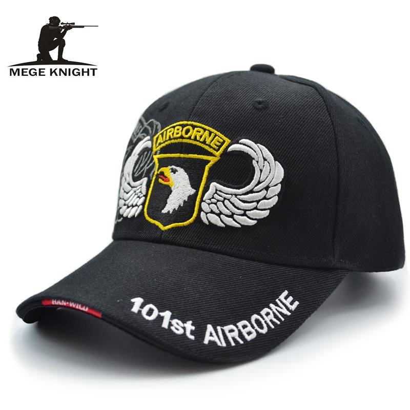76ed60c2a579c Mege New Summer Men Tactical Cap Teenager Unisex Hip Hop Adjustable Hat  Embroidery 101st Airborne Black Khaki Navy Casquette Gor Baseball Caps For  Men Mesh ...