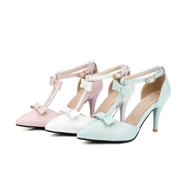 0d988f276 Compre Sapatos De Salto Alto Branco Azul Rosa Sandálias De Salto Grosso  Bowknot 32 43 Código Único Calçados Femininos 85mm Calcanhar Markdown Sale  De ...