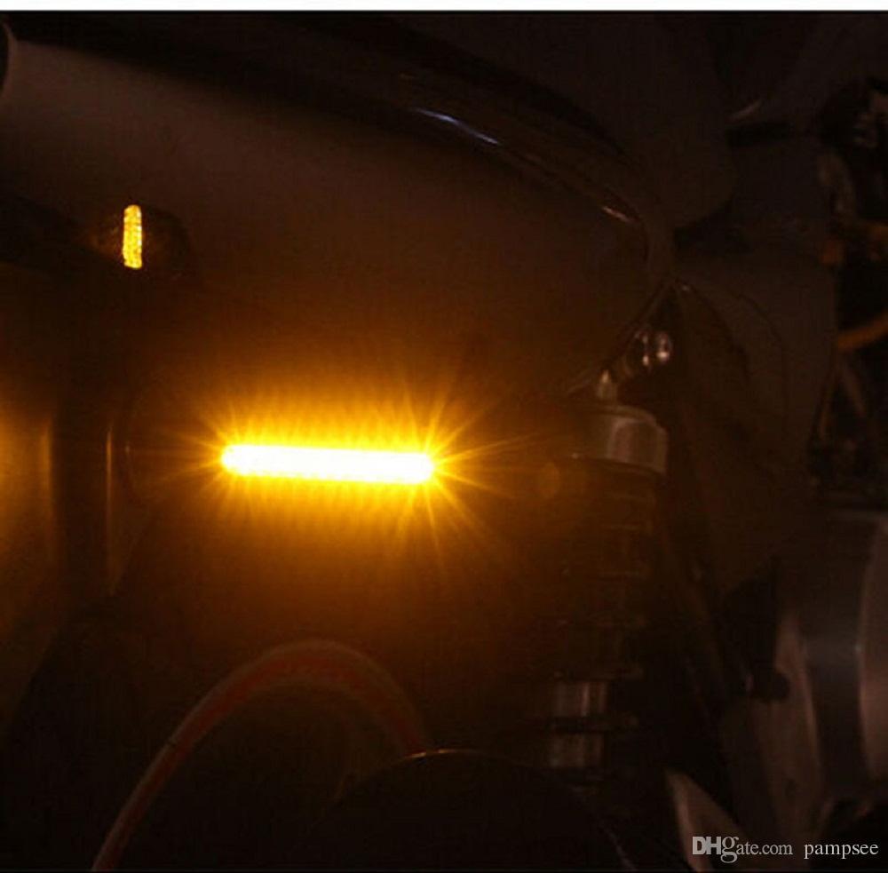 Pampsee 2 unidades Motocicleta Luz de señal de giro Flexible 12 LED Indicadores de señales de giro Parpadeos universales Intermitentes MSX125