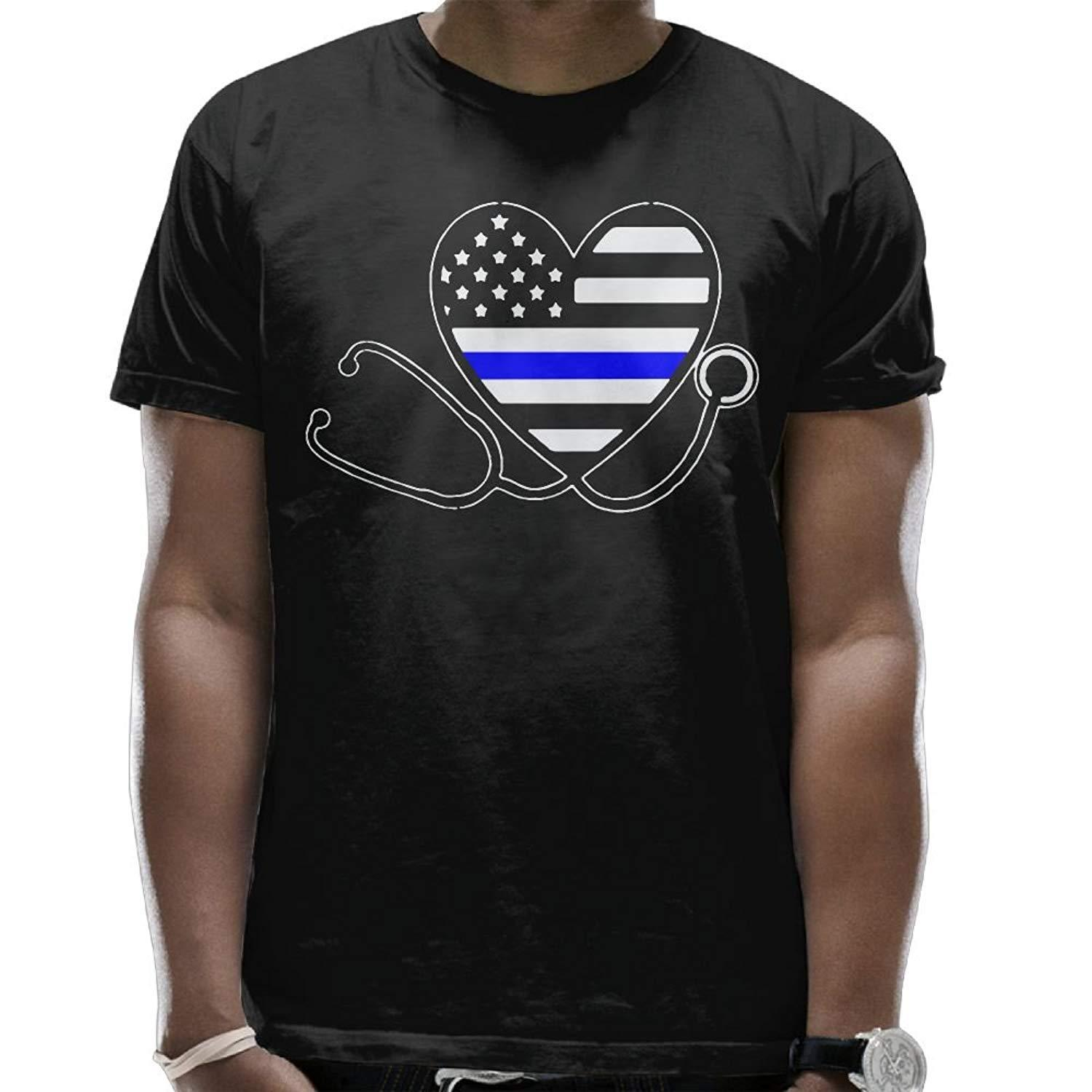 0d2f379c Summer Custom Crew Neck Short Sleeve T Shirt Thin Blue Line Nurse  Stethoscope Nurses Support Cotton T Shirt For Mens Silly T Shirts  Interesting T Shirts ...