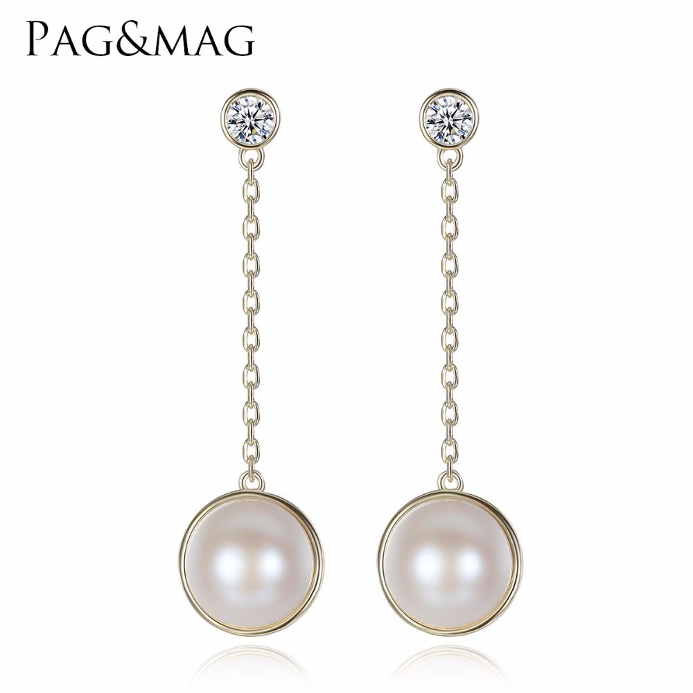 707ad35b467 PAG&MAG Brand 100% Genuine Pearls Dangle Best Quality Long Earrings Fashion  For Women Drop pearl Earrings Fine Jewelry