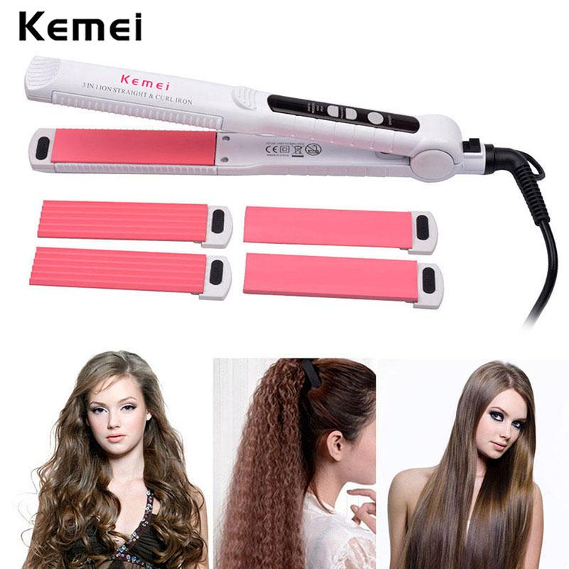 Kemei Led Hair Curler 3 In 1 Hair Curling Iron Set With Ceramic