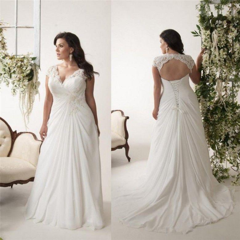 Discount 2018 Vintage Plus Size Wedding Dresses With Pleats V Neck A
