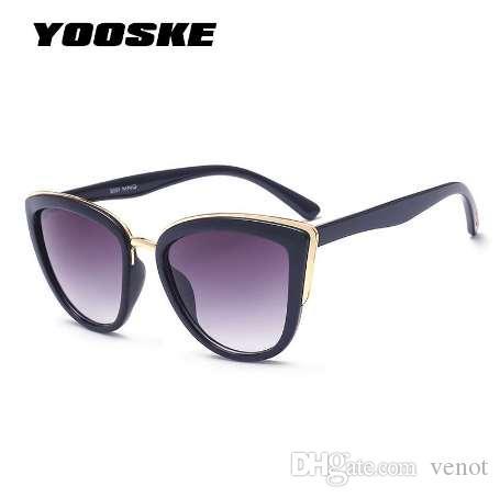 29a2dcf4c1e6 YOOSKE Cateye Sunglasses Women Luxury Brand Designer Vintage ...