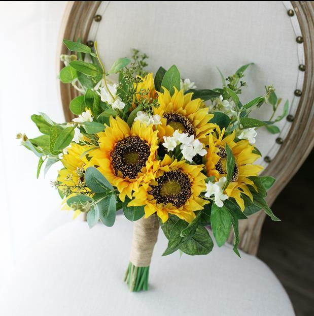 2018 Sunflower Wedding Bouquet Yellow Green Mori Artificial Bridal