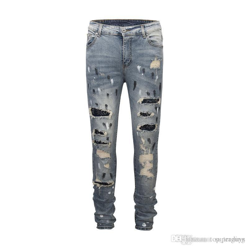 Großhandel Damen Herren Zerrissene Skinny Jeans Marke Designer Distressed  Slim Fit Gewaschen Zerrissene Denim Biker Jeans Hosen Stilvolle Jeans JS44  K32 Von ... 76f7ea18af