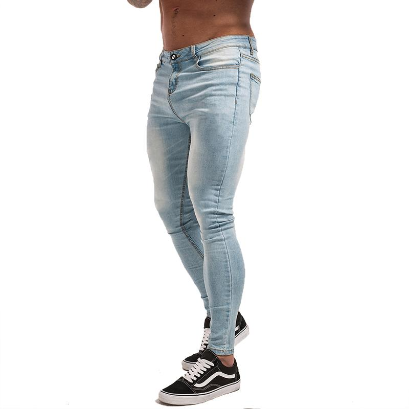 a68a9a853fdd 2019 Gingtto Skinny Jeans For Guys Stretch Jeans Light Blue Ripped Denim  Jeans For Men Slim Fit Tight Pants Brand Hip Hop Zm32 Y1892602 From Tao01