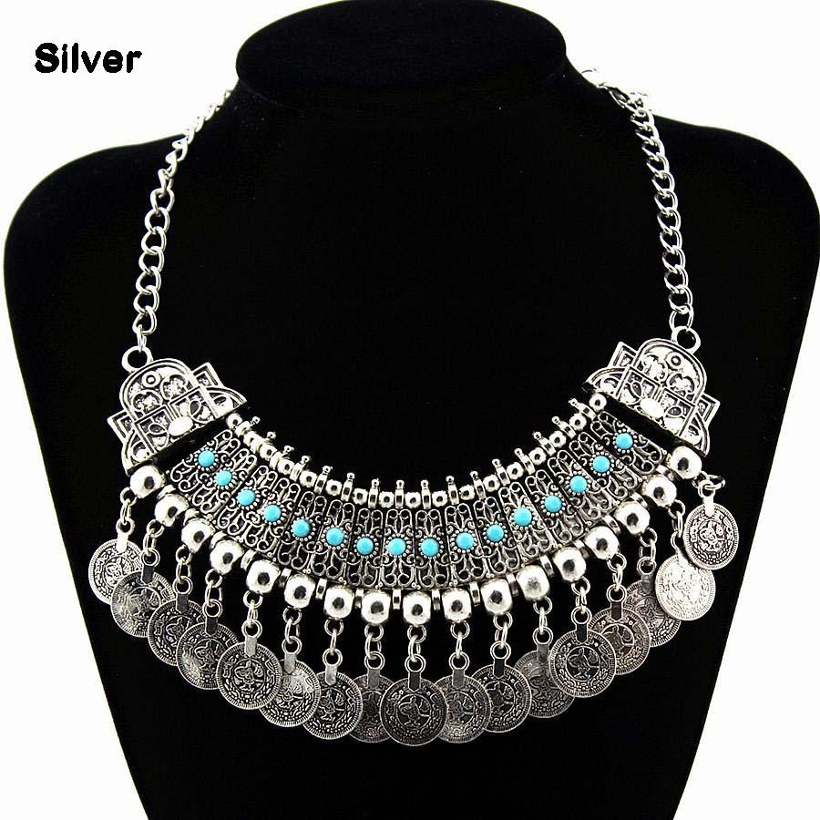 Women big-name alloy necklaces tassels coin choker