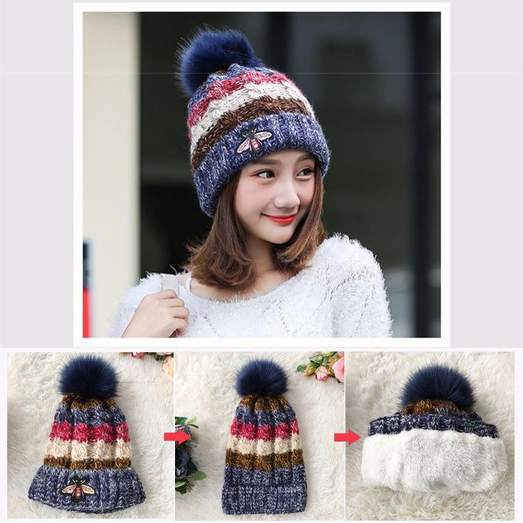 872f4e63db9 2019 Winter Warm Knitted Pom Pom Hat 35 Designs Double Thickening Beanie  Hats For Girls Student Teenagers Women Knitted Hat Cap DHL LA988 From  Makeup11