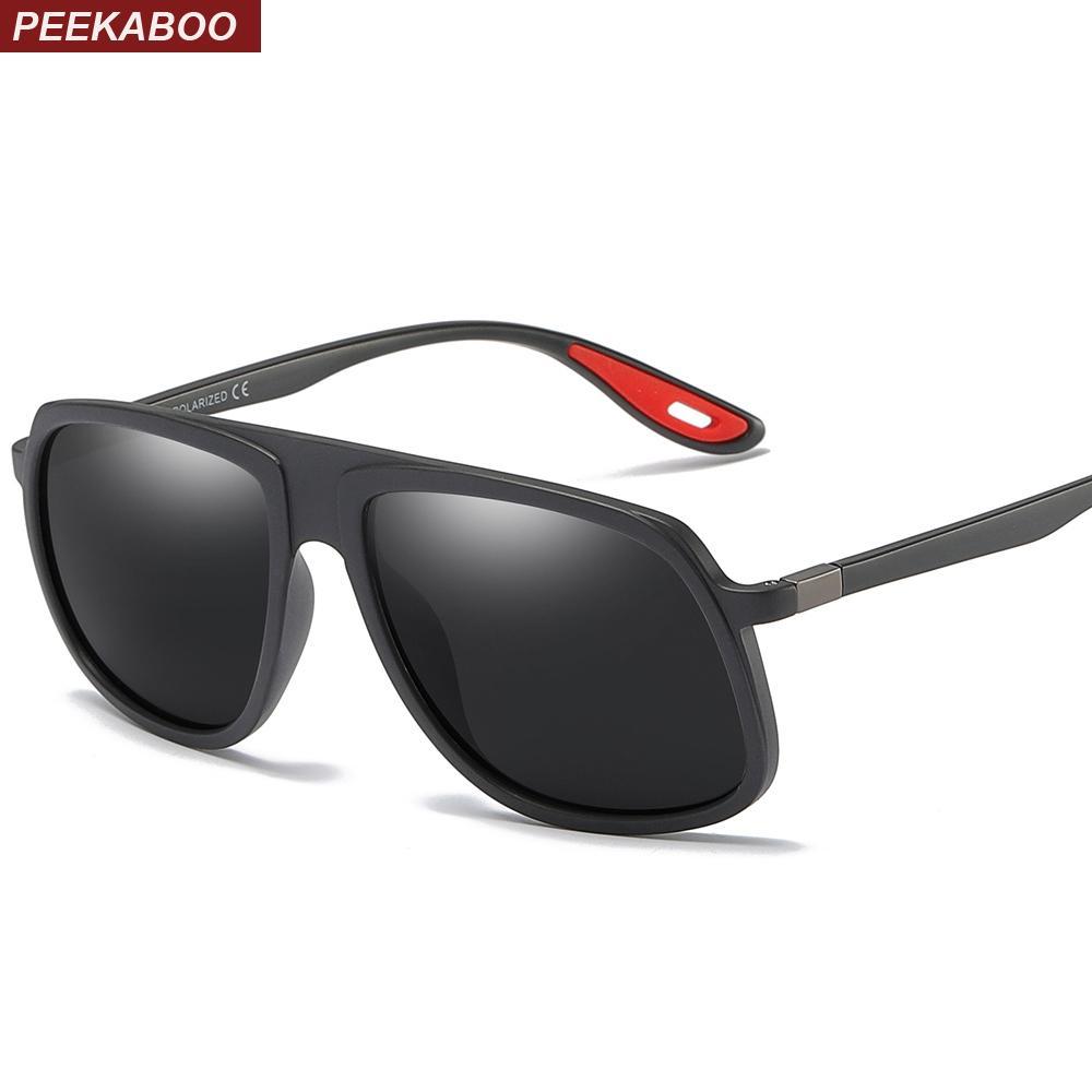 d837387d95655 Compre Peekaboo Ultra Light Sunglasses Homens TR90 Moda 2019 Verão Condução Óculos  De Sol Para Homens Polarizados Uv400 Preto Fosco De Qiufenshi