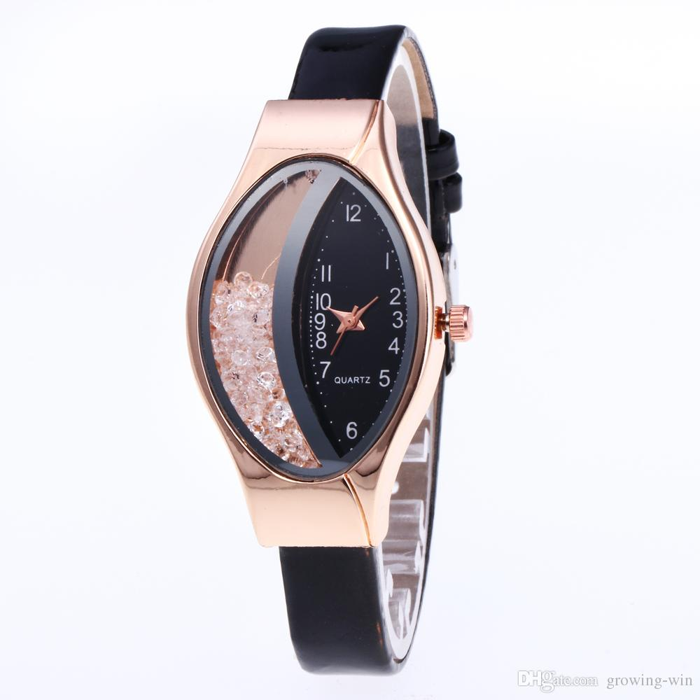 New Trend Fashion Women Oval Dial Quicksand Thin Leather Watches