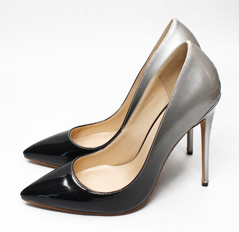 34c3e50cbb4 Large size 35-46 women pumps fashion gradient color pointed toe 8.5 10 12cm  customize heel wedding shoes red sole