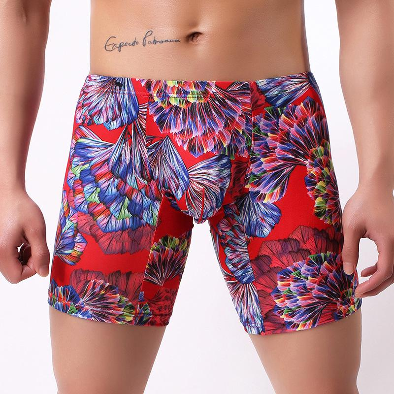 Sexy Men Plus Size Fantasy Printed Ice Silk Smooth Solid U Convex Pouch  Half Length Boxers Long Leg Underpants Boxer Gay Wear 13 UK 2019 From  Buttonline, ...