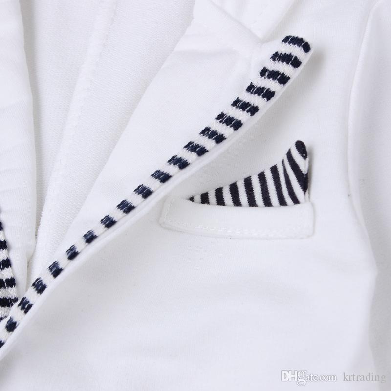 Baby Boys carino abiti Gentlmen set abbigliamento esterno bianco + pagliaccetto a righe manica lunga Toddlers bel onesie imposta abiti 1-2T