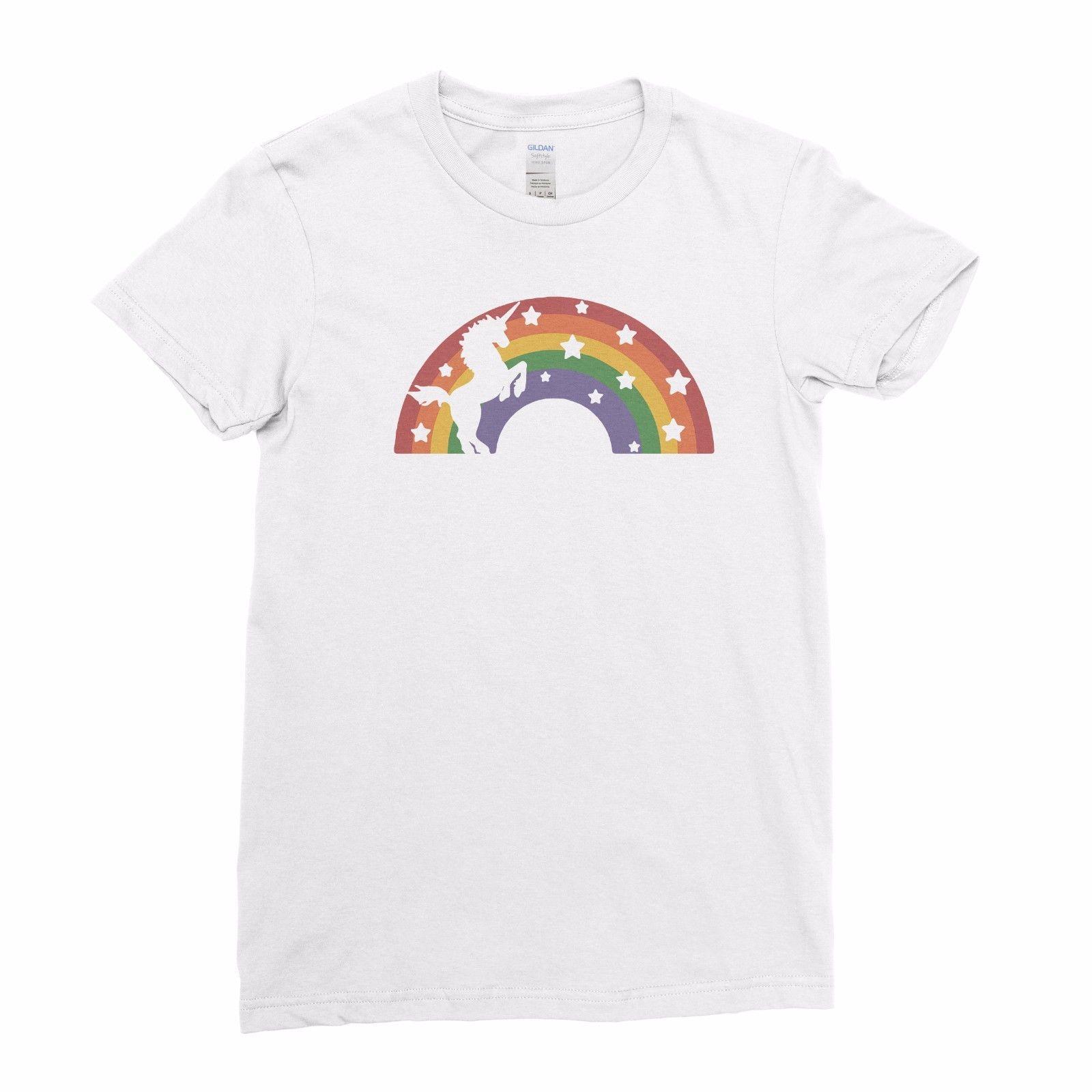 a17349be070c Retro Unicorn Rainbow Colours Funny Girly Ladies Women Girls T Shirt Top Tee  Cool Casual Pride T Shirt Men Unisex New Fashion Online Shop T Shirt Shirts  ...