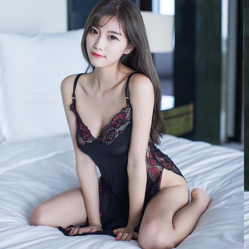 68fe136114915 2019 New Sexy Lingerie Womens Lace Nightdress + G String Suits Erotic  Nightwear Night Club Performance Dress Maid Costume From Jessicazeng