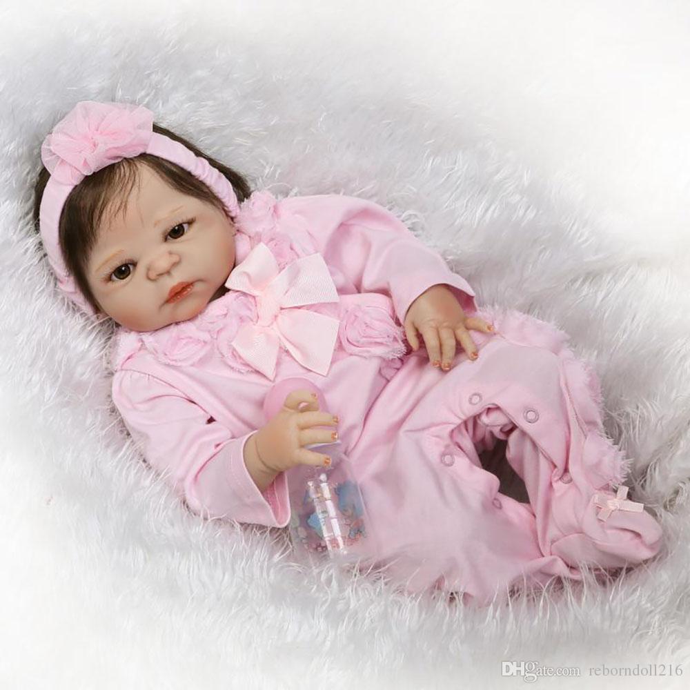Lovely Girl Princess Reborn Baby Dolls 23'' Full Silicone Body Lifelike Baby Dolls with Hair So Truly Reborns kids Birthday Gift