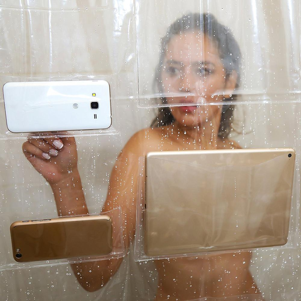 2018 Transparent Bath Shower Curtain Phone Tablet Holder Clear ...