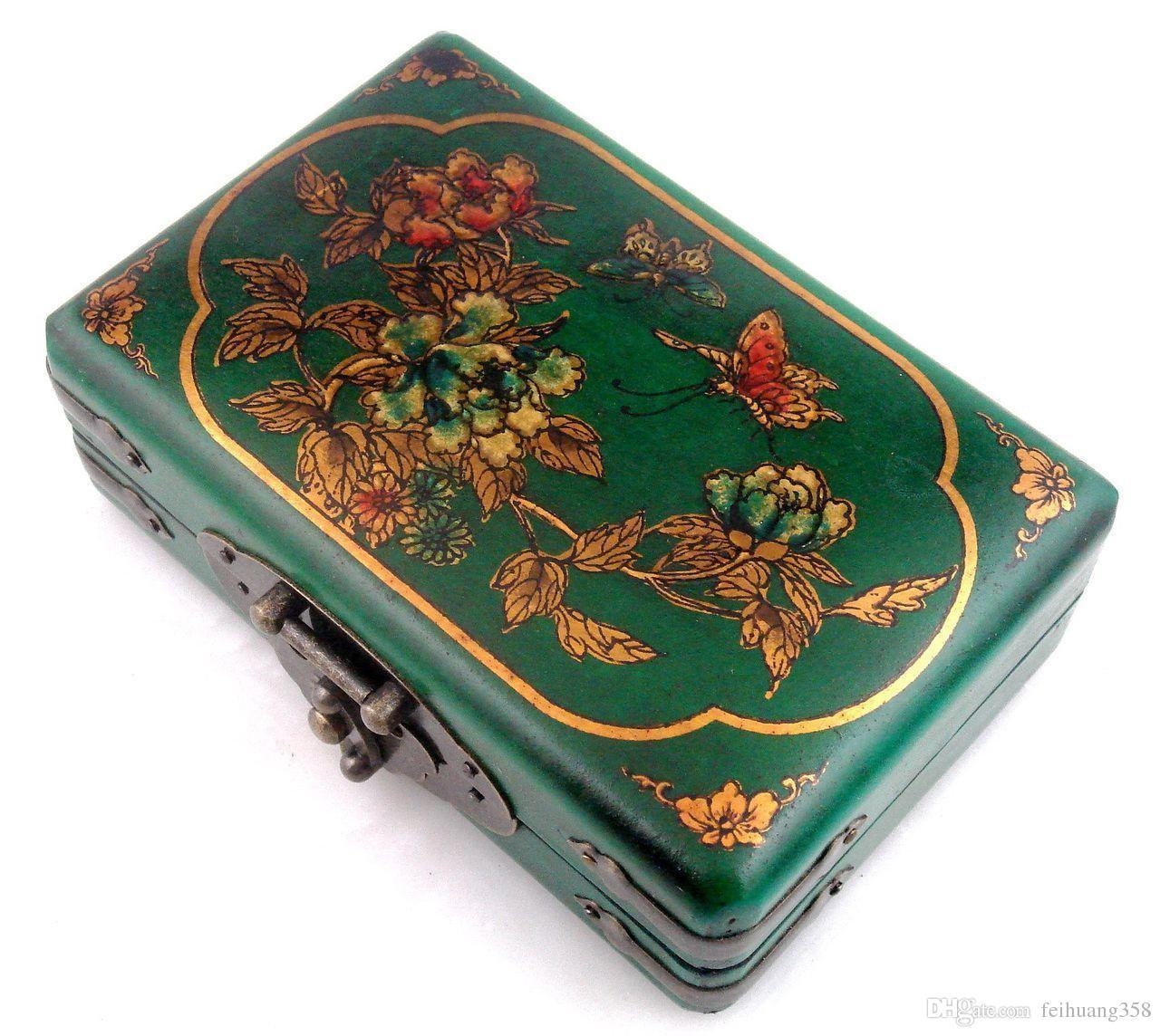 Yeşil / Kırmızı Finish Deri Altın Yaldızlı Kelebek Çiçekleri Ahşap Mücevher Kutusu