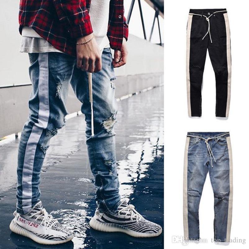 9d7ef5dd7d1 2019 Mens Ripped Skinny Jeans Brand Designer Distressed Straight Slim Fit  Elastic Denim Biker Jeans Side Zipper Pants Stylish Jeans From Superguys