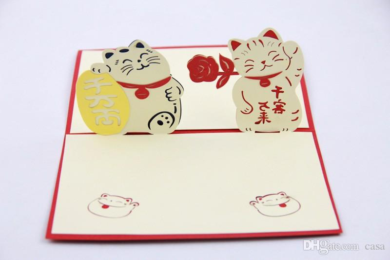 3D Pop Up Felicitous Wish Of Making Money Greeting Card Maneki Neko Lucky Cat For Business Birthday Cards From