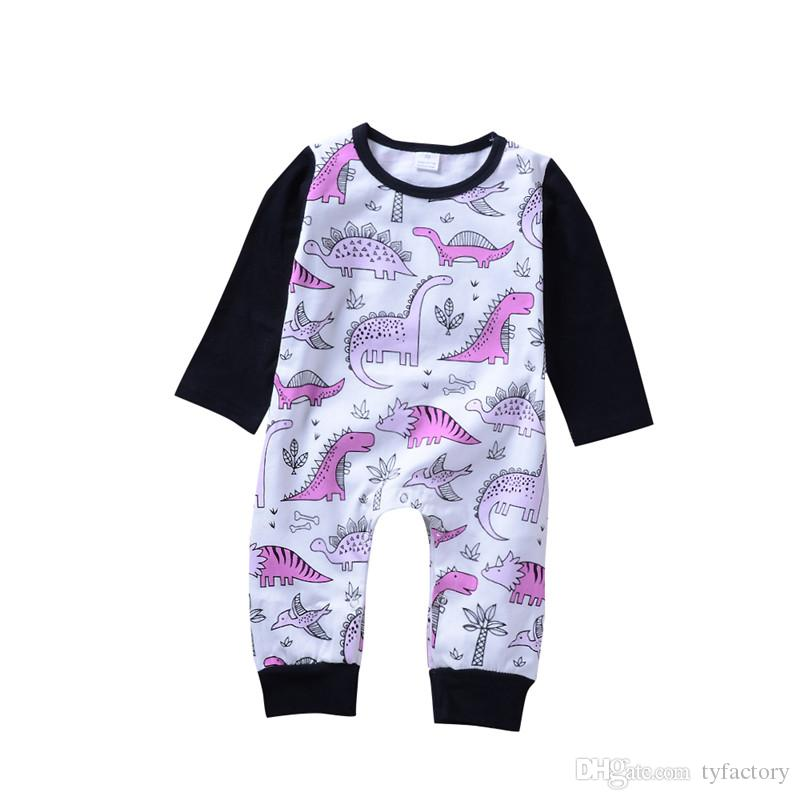a104bdca6f Baby Long Sleeve Dinosaur Romper Baby Boys Girls Jumpsuit Pink Playsuit  Winter Pajamas Triceratops Pterosaur Stegosaurus Kid Clothing UK 2019 From  Tyfactory ...