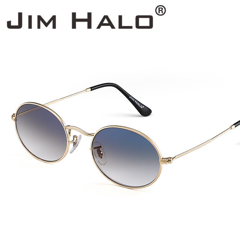 c0dd37f03 Compre JIM HALO Retro Pequeno Redondo Quadro Gradiente Lente Óculos De Sol  Clássico De Metal Sol Lens De Vidro Das Mulheres Dos Homens Óculos De Lente  De ...