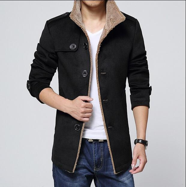 2016 Winter Fashion Men's Lambs Wool Lining Jacket Coat , Male Thick Warm Jacket Outerwear Male Slim Fit Trench Coat