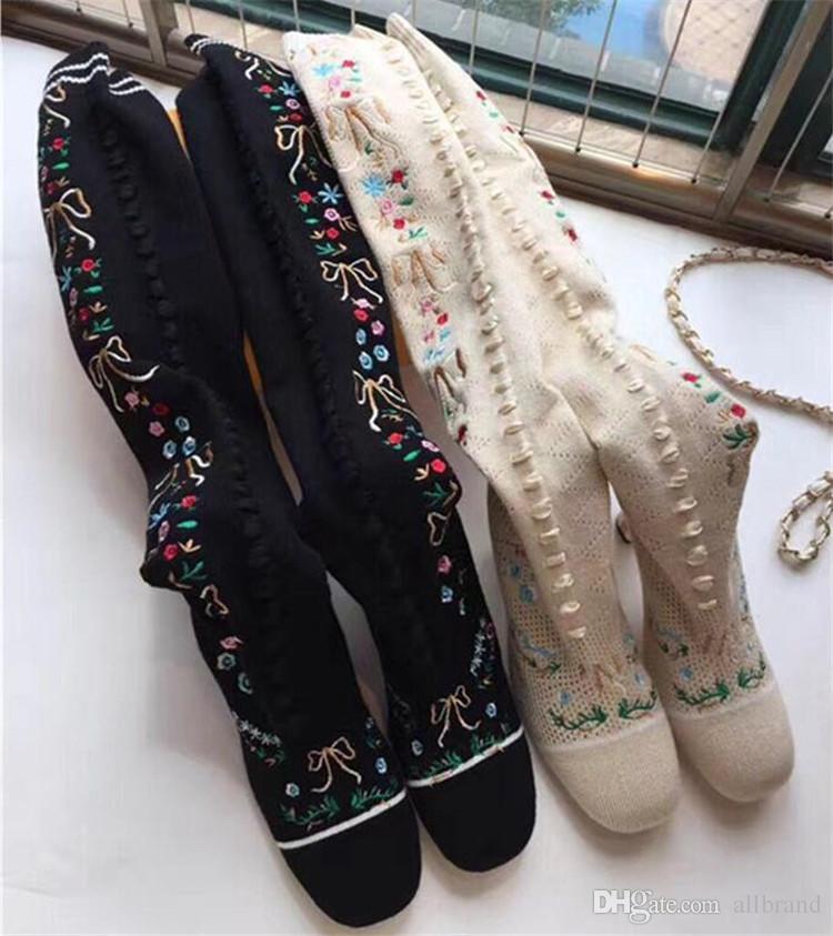 Europa Stati Uniti nuovo stovepipe in lana stretch calze stivali ricamati stivali sopra il ginocchio sexy stivali autunno inverno col tacco alto