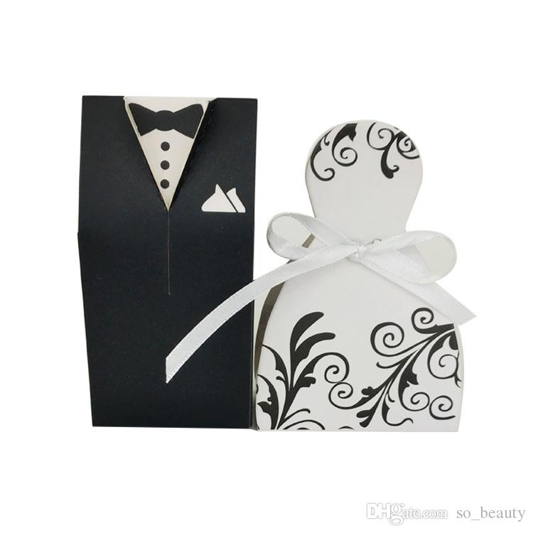 Bride and Groom Candy Boxes DRESS & TUXEDO Wedding Pattern Gift Box Christmas Anniversary Party Favors