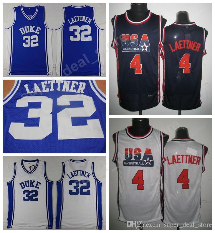 332c344665b8 Großhandel Laettner Jersey 4 1992 Dream Team College Basketball Duke Blue  Devils 32 Christian Laettner Blau Weiße Trikots Sportuniformen Genäht Von  ...