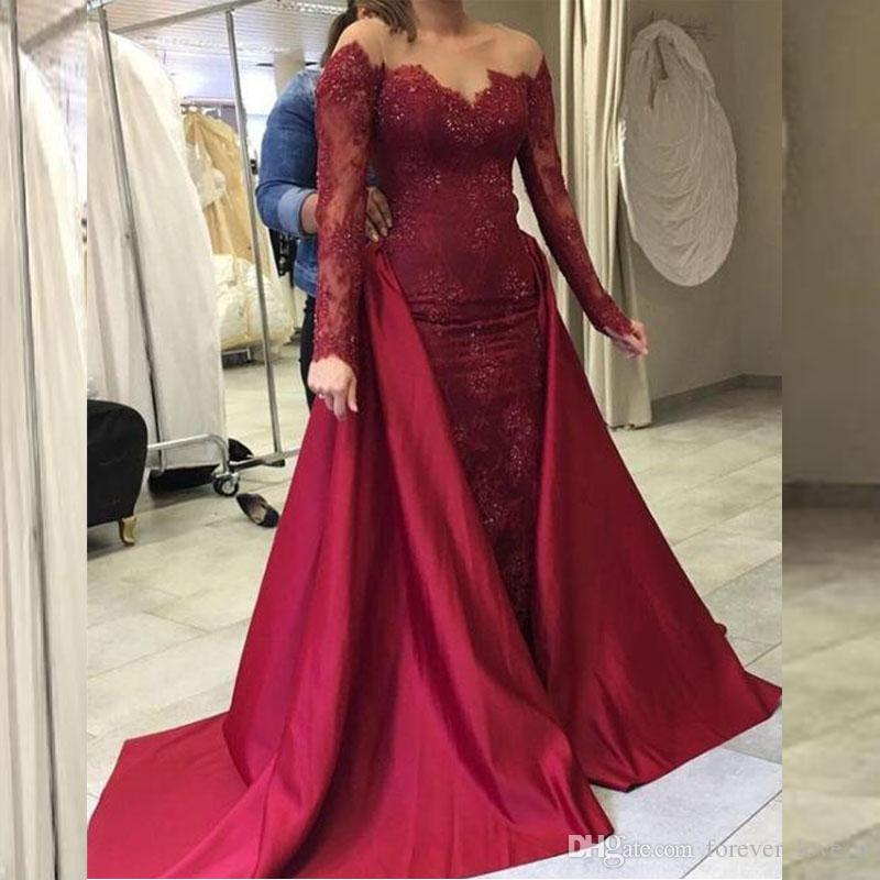Modest Long Sleeves Prom Dresses Sheer Bateau Neck Burgundy Lace Stunning  Evening Gown Beads Sequins Formal Dress Removable Train High Street Prom  Dresses ... 015973a477db