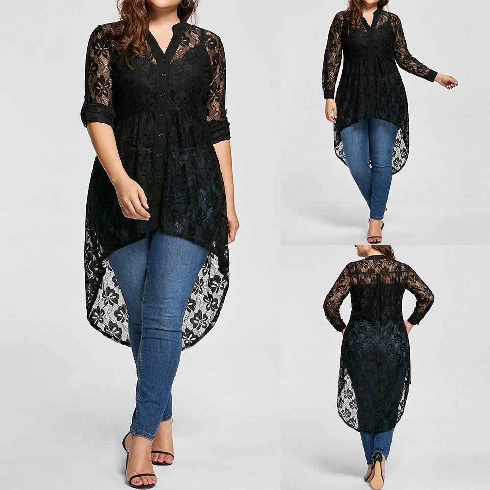 2019 Women Plus Size Blouse Long Sleeve Lace Shirt Perspective Button Up Female  Tops Womens Tops And Blouses 2018 New Arrival From Cety 92be0263ed0b