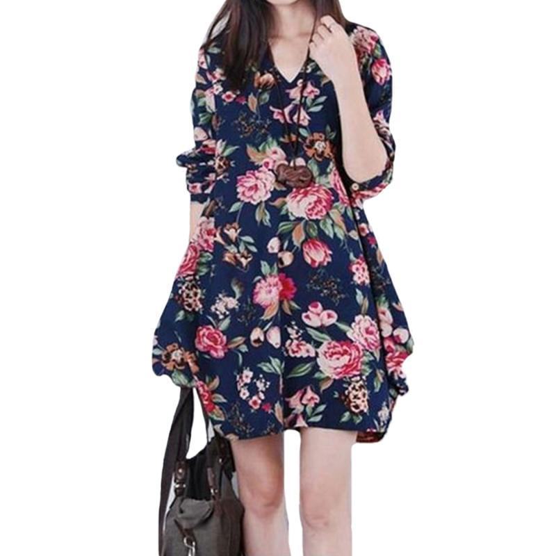 51518770d61d Summer Boho Women Dresses Sexy V Neck Casual Sleeve Womens Elegant Mini  Party Dress Floral Print Beach Dress Knee Length Dresses Vintage Dress From  ...