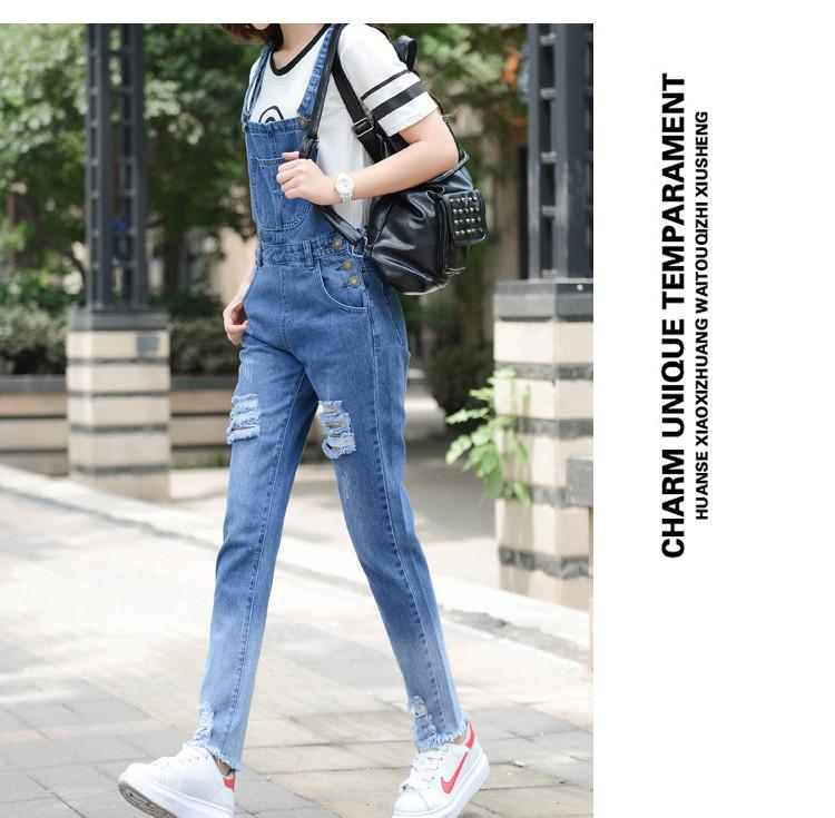 HCYO Summer Women Jumpsuit Rompers Skinny Denim Rompers Womens Jumpsuit Preppy Style Bodysuits Romper Solid Hole Denim Jumpsuits