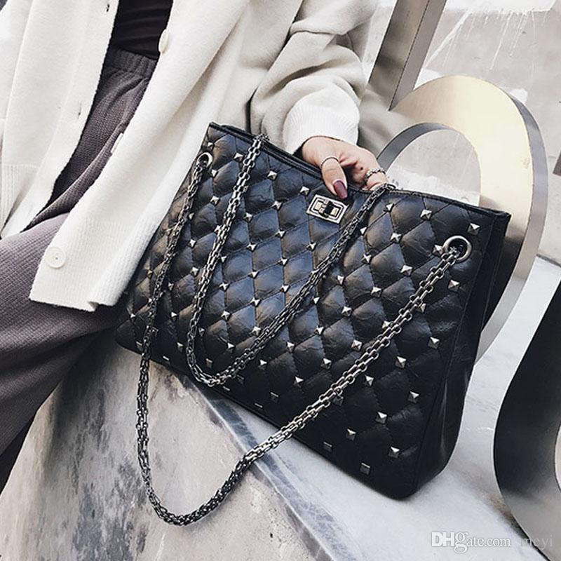c601deee0e1a Rivets Shoulder Bag Women Travel Bags Leather Pu Quilted Bag Female Luxury  Handbags Women Rhomger chains Casual Tote bag