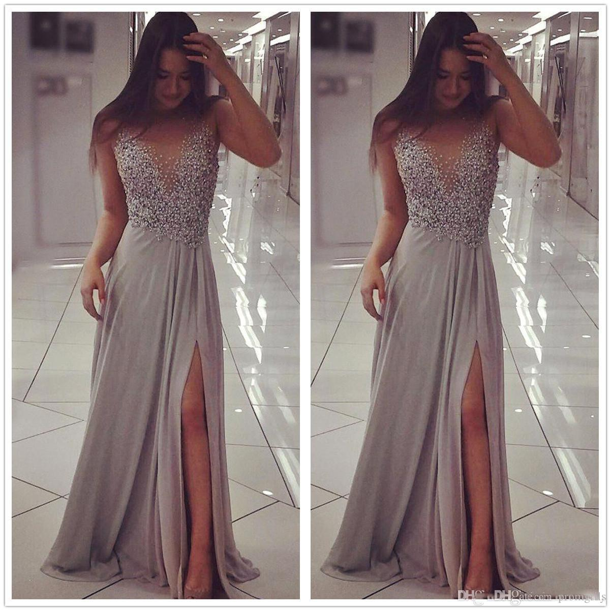 2018 New Gray Sheer Mesh Top Chiffon A Line Prom Dresses Sleeveless ...