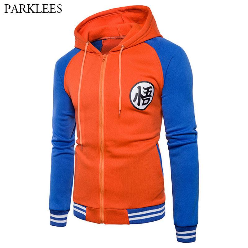 Trend New Japanese Anime Goku Varsity Hooded Jacket 2018 Spring Casual Zipper Hoodie Coat Sweatshirt Jacket For DBZ