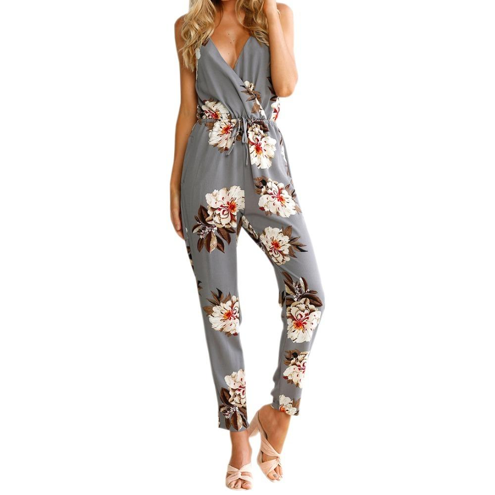 1a3ab4a225fb 2019 Sexy Beach Boho Jumpsuits 2019 Summer Floral Print Women Jumpsuit  Spaghetti Strap Backless Sexy Mujer Long Romper Overalls LX338 From  Stephanie02
