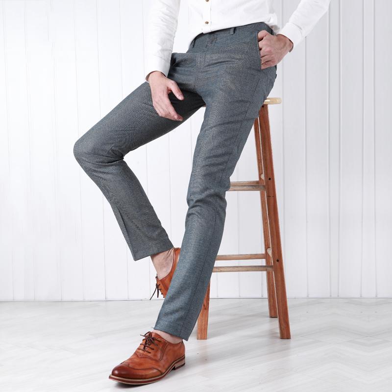 91bc8a634 Compre Pre Venta Hombres Pantalones De Vestir Slim Fit Caballero Formal De  Invierno Cálido Informal Novio De La Boda Gris Hombre De Negocios Pantalones  De ...