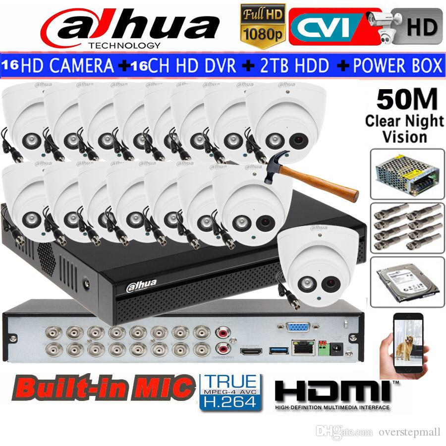 Dahua 2MP IR HDCVI Dome camera Built-inMic HDW1200EMP-A Security camera  16CH HCVR5116HS-S3 CCTV camera kit HDD with power box