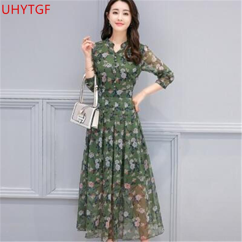 Plus size dress female New Slim Floral chiffon dress Summer clothing  Fashion long dresses Korean Long sleeve elegant dresses