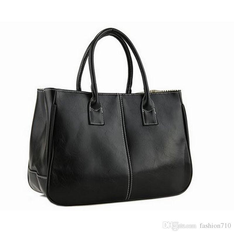 c0a41aeda580 New Handbags Casual Tote Fashion Elegant Korean Two Strap Totes Leather Bag  Business Solid Open Versatile vrouwen handtas