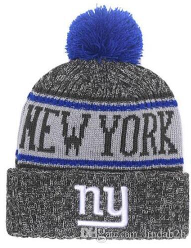 670339c9387 2019 2019 American National Giants Beanie NY Sports Pom Stripes Men Women  Sideline Cold Weather Reverse Knit Hat Official Graphite Cap From Lindab2b