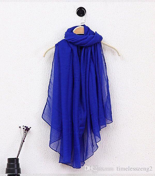 i di moda primavera estate Solid Protezione signora Scarf sole cotone e lino di colore della caramella Sciarpe