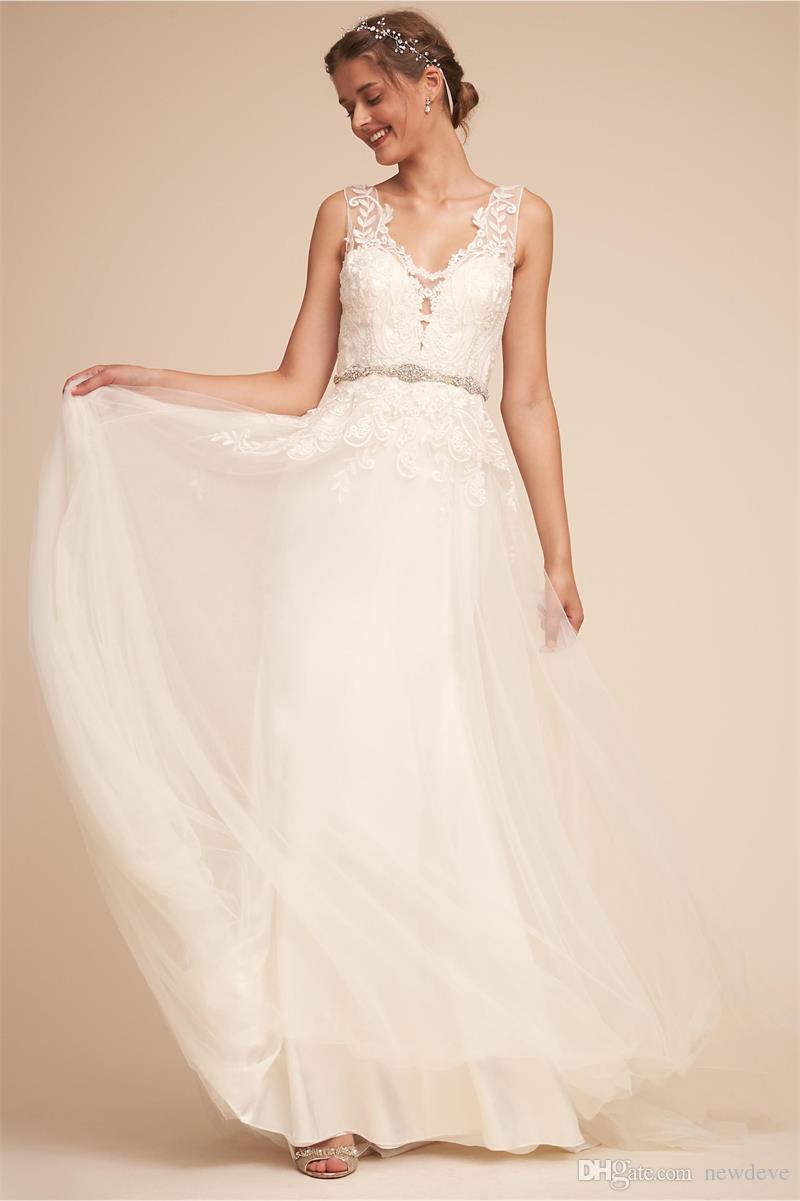 Vestidos de novia de playa BHLDN Apliques de encaje bonito Cuello en V Cinturones de cristal Vestidos de novia Vestido de novia Boho de ilusión por encargo