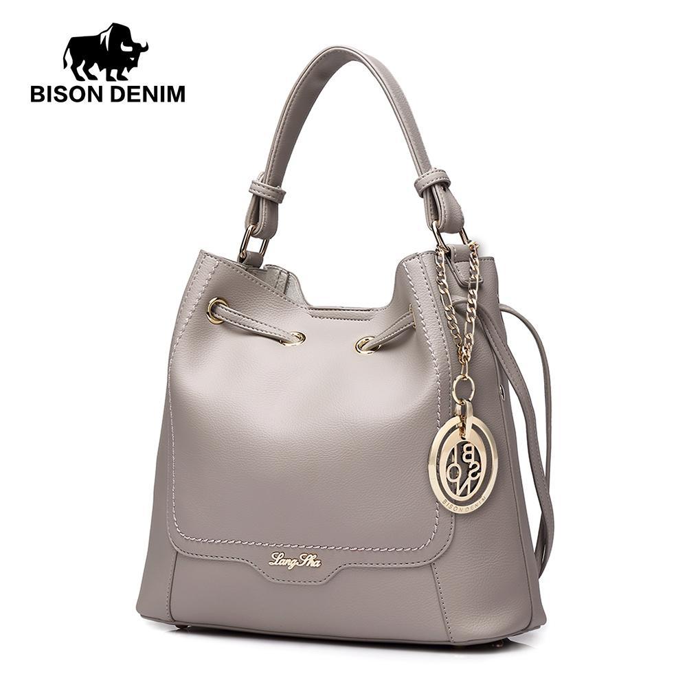 83aad0b27c BISON DENIM Women Bag Leather Bucket Shoulder Bag Fashion Ladies Crossbody  Messenger Bags Large Capacity Handbag Set L1241 Leather Bags Designer Purses  From ...