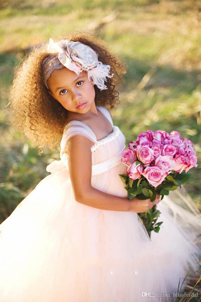 Robes de fille de fleur en tulle rose pâle Spaghetti Neck Satin Sash Baptême / Communion / Anniversaire / Noël Robes de soirée