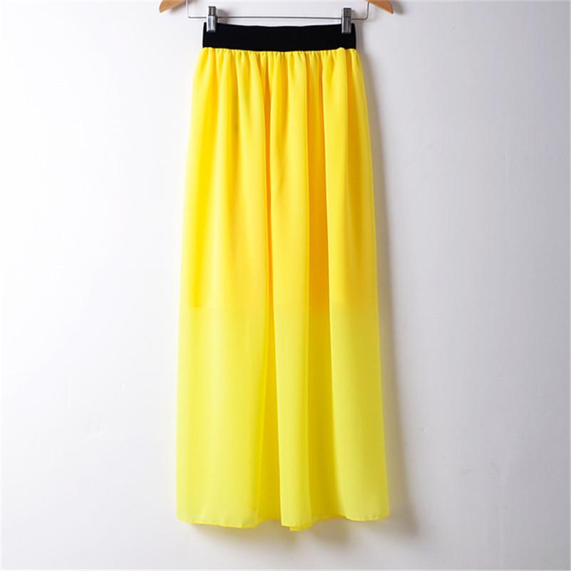 46654cada7 2019 Yellow Women Chiffon Pleated Skirt Vintage High Waist Tutu Skirts  Womens Saia Midi Rokken 2018 Summer Style Jupe Femme Skirt From Yujiu, ...