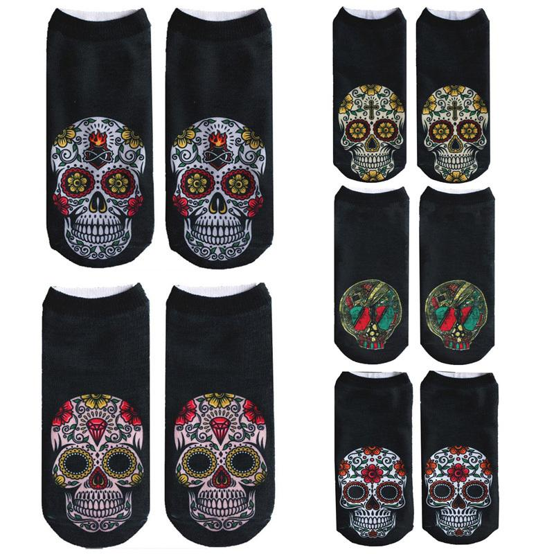 9606f2ebaff 2018 New Arrival Women Low Cut Ankle Socks Funny Skull 3D Printing ...